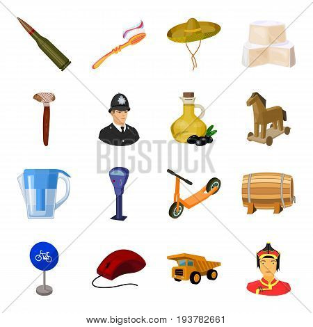 Weapons, food, parking and other  icon in cartoon style. Transportation, dentistry, winemaking icons in set collection.