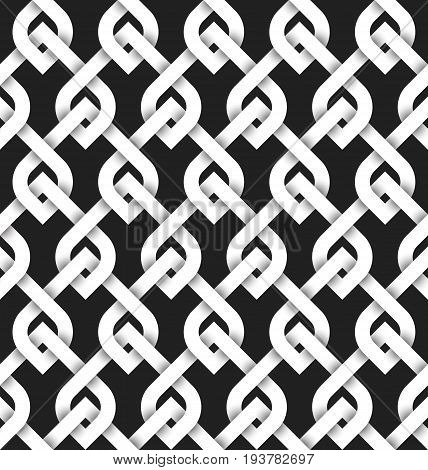 Abstract repeatable pattern background of white twisted strips. Swatch of intertwined strips with loops. Volumetric seamless pattern in modern style.