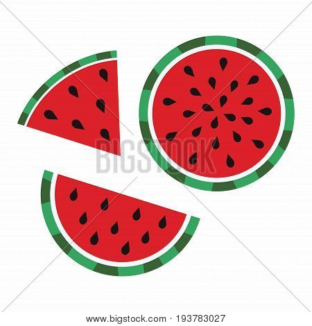 watermelon slices, delicious and fresh watermelon fruit, set of juicy slices of watermelon