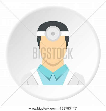 Oculist icon in flat circle isolated vector illustration for web