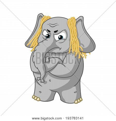 Elephant cute Nick. Big collection vector cartoon characters of elephants on an isolated background. Deception. Don't lie to me. To hang noodles on the ears. EPS 10.