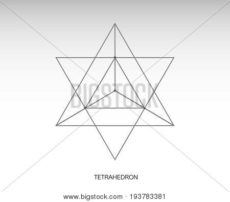 Sacred geometry. merkaba thin line geometric triangle shape. esoteric or spiritual symbol. isolated on white background. Star tetrahedron icon