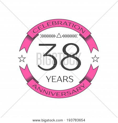 Realistic thirty eight years anniversary celebration logo with ring and ribbon on white background. Vector template for your design