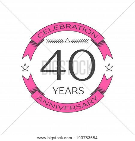 Realistic forty years anniversary celebration logo with ring and ribbon on white background. Vector template for your design