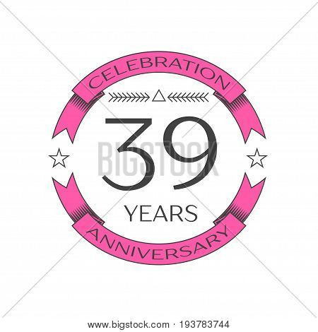 Realistic thirty nine years anniversary celebration logo with ring and ribbon on white background. Vector template for your design