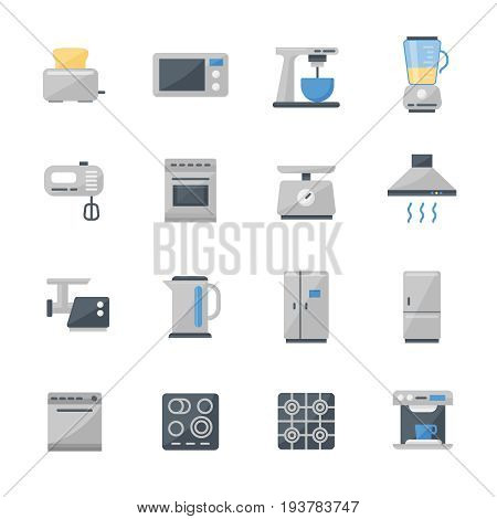 Set of 16 kitchen appliances flat icons. High quality pictograms of kitchen household. Modern flat style icons collection. Microwave, fridge, toaster, blender, pot and others.