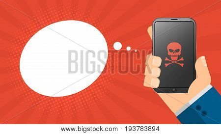 A cartoon man holds a broken phone in his hand. Empty cloud for text. Red skull on the screen. High-tech phone. Cartoon style. Vector illustration