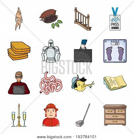 Furniture, China, woodworking, apiary and other  icon in cartoon style. Italy, profession icons in set collection.