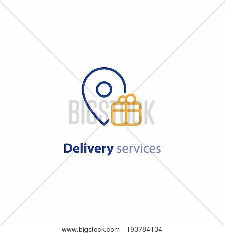 Box delivery services, fast relocation, transportation company logo elements, shipping order, distribution line icon, tracking parcel outline vector