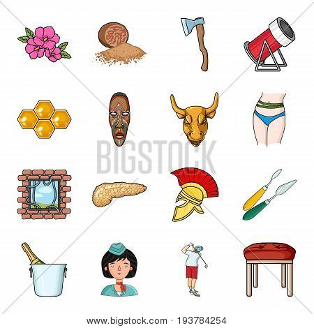 Spice, woodworking, apiary and other  icon in cartoon style.Art, restaurant, furniture icons in set collection.