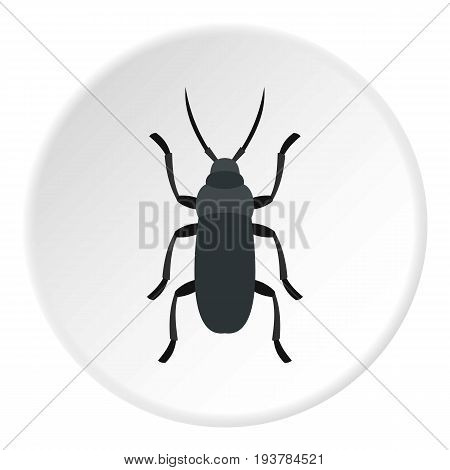 Gray bug icon in flat circle isolated vector illustration for web