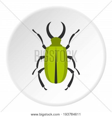Green bug icon in flat circle isolated vector illustration for web