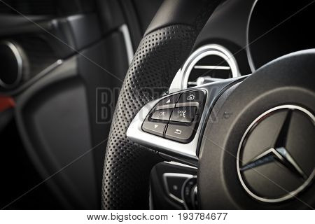 Sankt-Petersburg, Russia October 22, 2016 : Dashboard and steering wheel of Mercedes-Benz CLA 45 2016 AMG interior, test drive on October 22 2016 in Russia.