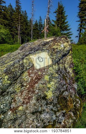 State border stone. Border sign of Austria.