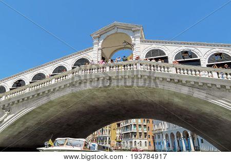 Venice Italy - June 20 2017: Rialto bridge in Venice Italy. Venice Grand Canal.