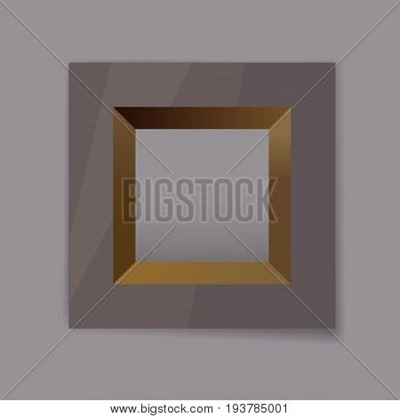 dark chrom metal frame blank with gold Internal faces for your text, photo or design eps10 isolated vector illustration