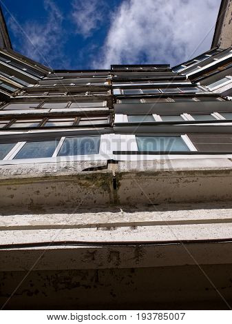 glazed balconies in a panel house, Moscow