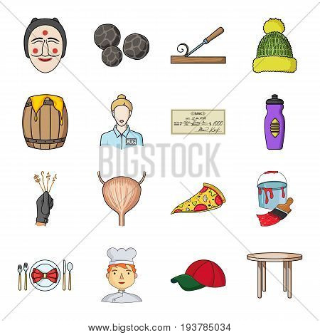 man, cook, cap and other  icon in cartoon style. table, legs, kitchen icons in set collection.