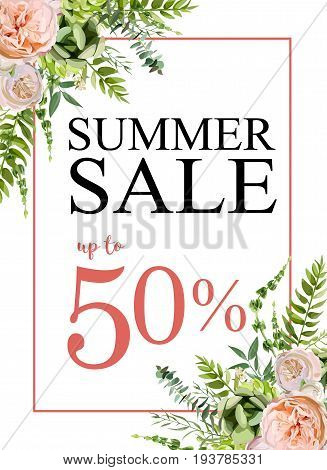 Summer sale vector banner background with pink garden rose flowers eucalyptus succulent greenery seasonal herb mix Elegant Illustration template design. Flyer poster visit card greeting card wedding