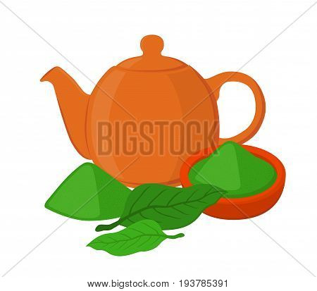 Matcha tea - japaneese ethnic and national drink. Powder, leaves of asian tea, teapot, teakettle. Made in vector cartoon flat style