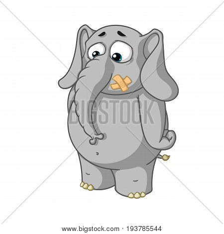 Big collection vector cartoon characters of elephants on an isolated background. Stands with mouth sealed