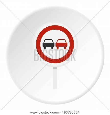 No overtaking road traffic sign icon in flat circle isolated vector illustration for web