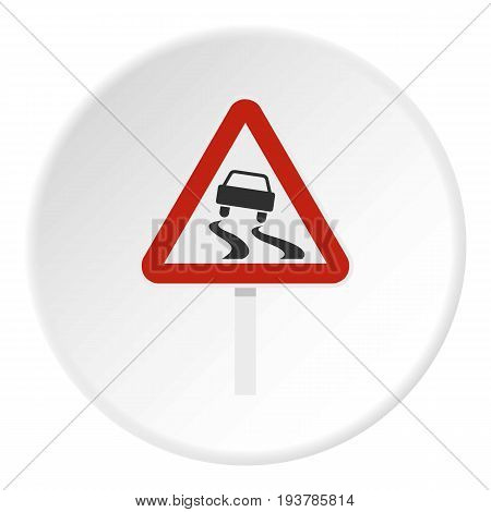 Slippery when wet road sign icon in flat circle isolated vector illustration for web