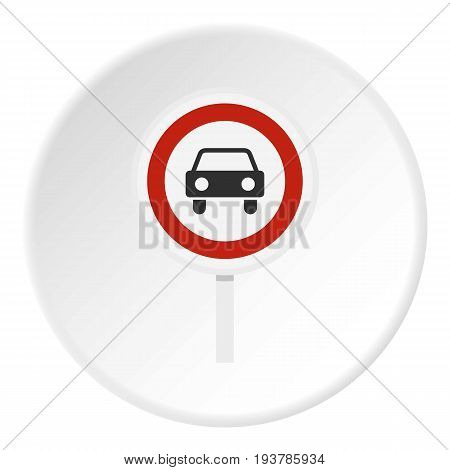 Movement of motor vehicles is forbidden icon in flat circle isolated vector illustration for web