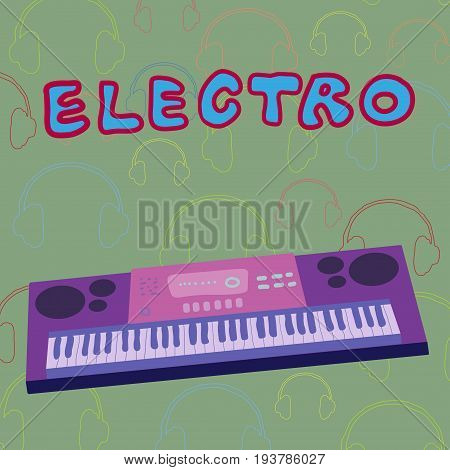 Violet synthesizer on green music background. Vector.