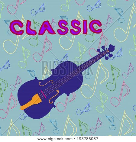 Blue, cartoon violin on music background. Vector.