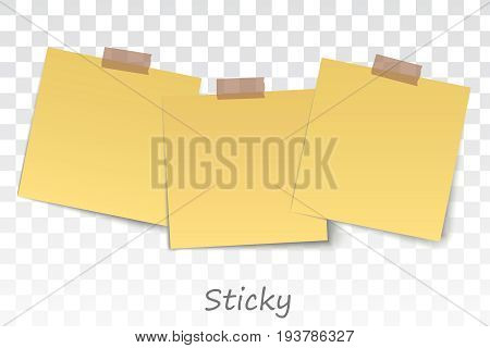 yellow stickers square. Blank sticky notes set. Sticky reminder notes realistic colored paper sheets office papers with shadow
