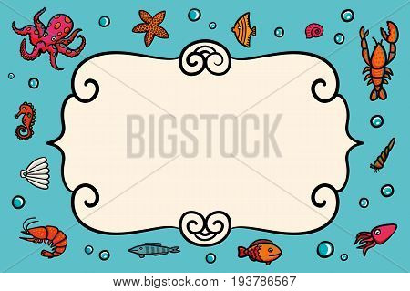 Card template. Marine theme. Blue card with lobster, shrimps snails, sea cabbage and anchor. Hand-drawn illustration on a blue background. Sea inhabitants and plants. Vector illustration