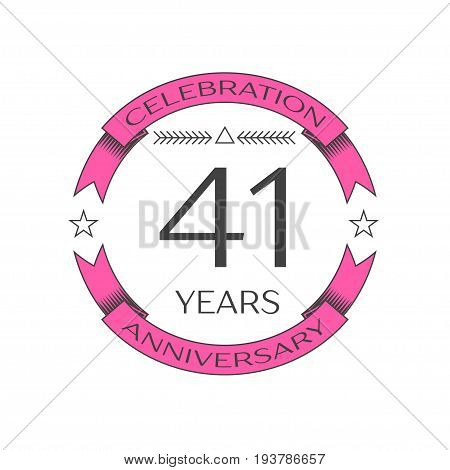Realistic forty one years anniversary celebration logo with ring and ribbon on white background. Vector template for your design