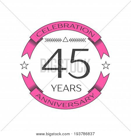 Realistic forty five years anniversary celebration logo with ring and ribbon on white background. Vector template for your design