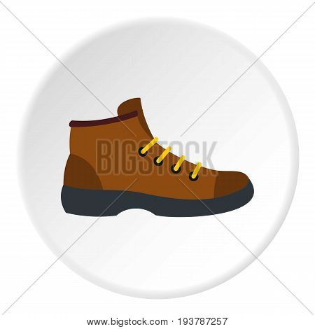 Hiking boot icon in flat circle isolated vector illustration for web