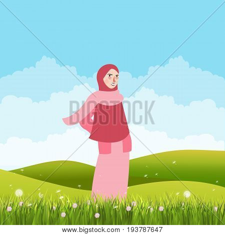 girl standing alone in green field land wearing veil scarf vector