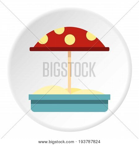 Sandbox with red dotted umbrella icon in flat circle isolated vector illustration for web