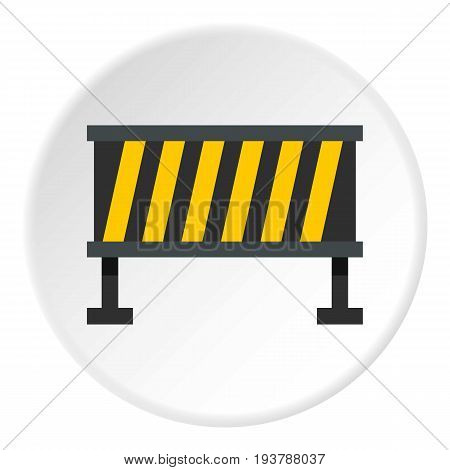 Safety barricade icon in flat circle isolated vector illustration for web