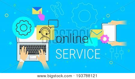 Online service and technical support on laptop concept vector illustration. Human hands working on laptop and digital tablet for maintenance and online feedback support. Creative promo banner for tech