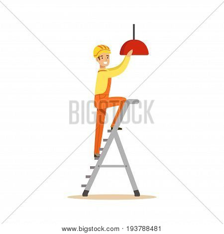 Electrician standing on a stepladder installing lighting on the ceiling, electric man performing electrical works vector Illustration isolated on a white background