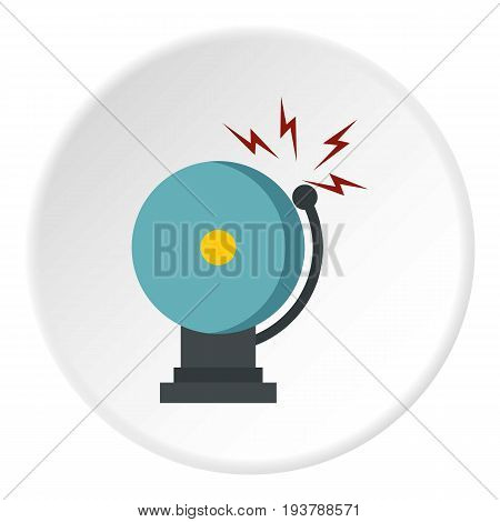 Ringing fire alarm bell icon in flat circle isolated vector illustration for web