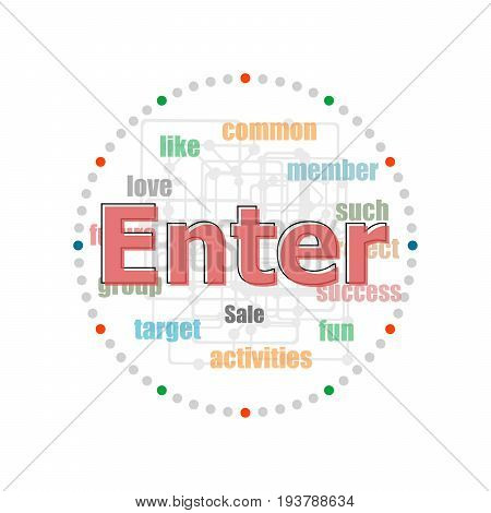 Word Enter On Digital Screen, Business Concept . Word Collage With Different Association Terms