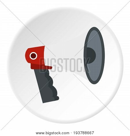 Red and white bullhorn public megaphone icon in flat circle isolated vector illustration for web