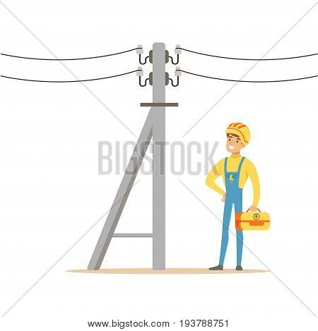 Electrician working on electric power pole, electric man performing electrical works vector Illustration isolated on a white background