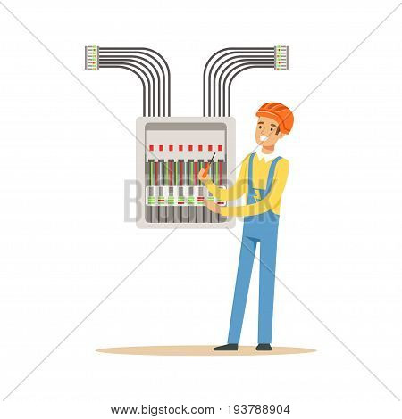 Electrician engineer screwing equipment in fuse box, electric man performing electrical works vector Illustration isolated on a white background