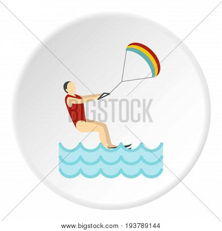 Kitesurfing icon in flat circle isolated vector illustration for web