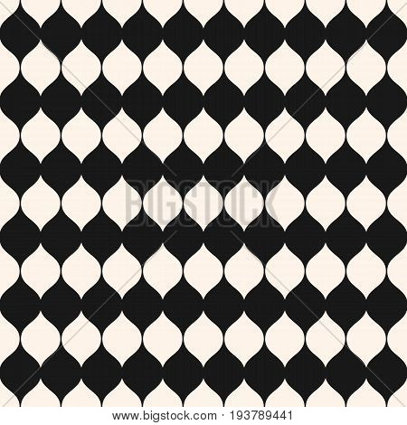 Seamless pattern. Vector monochrome background, vertical wavy shapes ellipses. Abstract contrast geometric texture, smooth lines. Design pattern, textile pattern, covers pattern, digital pattern, package pattern, decor pattern, fabric pattern.