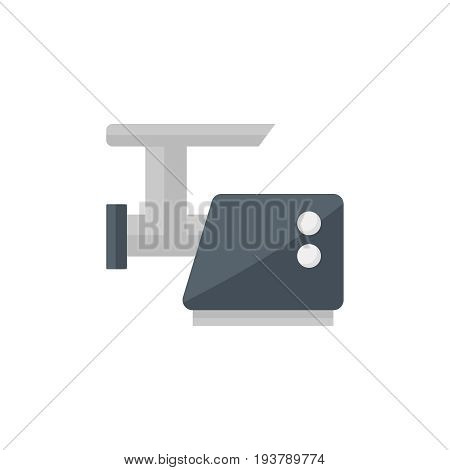Flat meat grinder icon. Vector illustration isolated on a white background. Simple color pictogram of meat grinder.