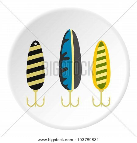 Fishing lure icon in flat circle isolated vector illustration for web