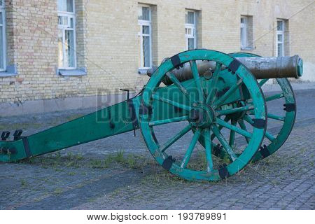 ancient vintage medieval large caliber gunpowder ball cannon gun at the fortress in Kiev Ukraine Europe